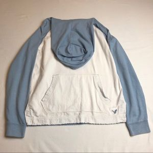 American Eagle M Hoodie Color Block Blue and White